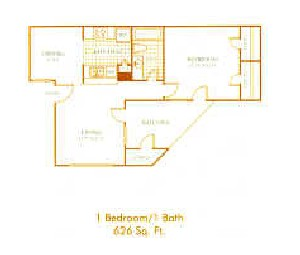 626 sq. ft. A3 floor plan