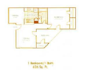 626 sq. ft. A3 floor plan