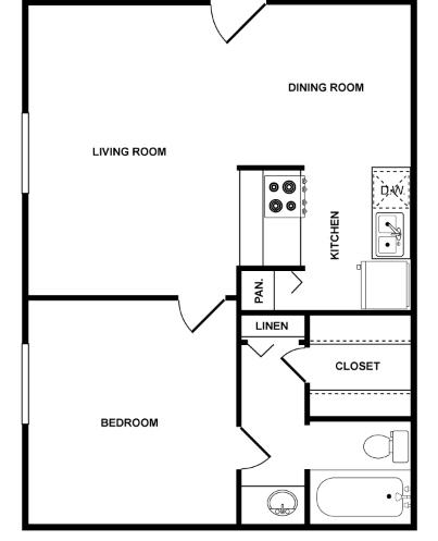 553 sq. ft. Comet floor plan