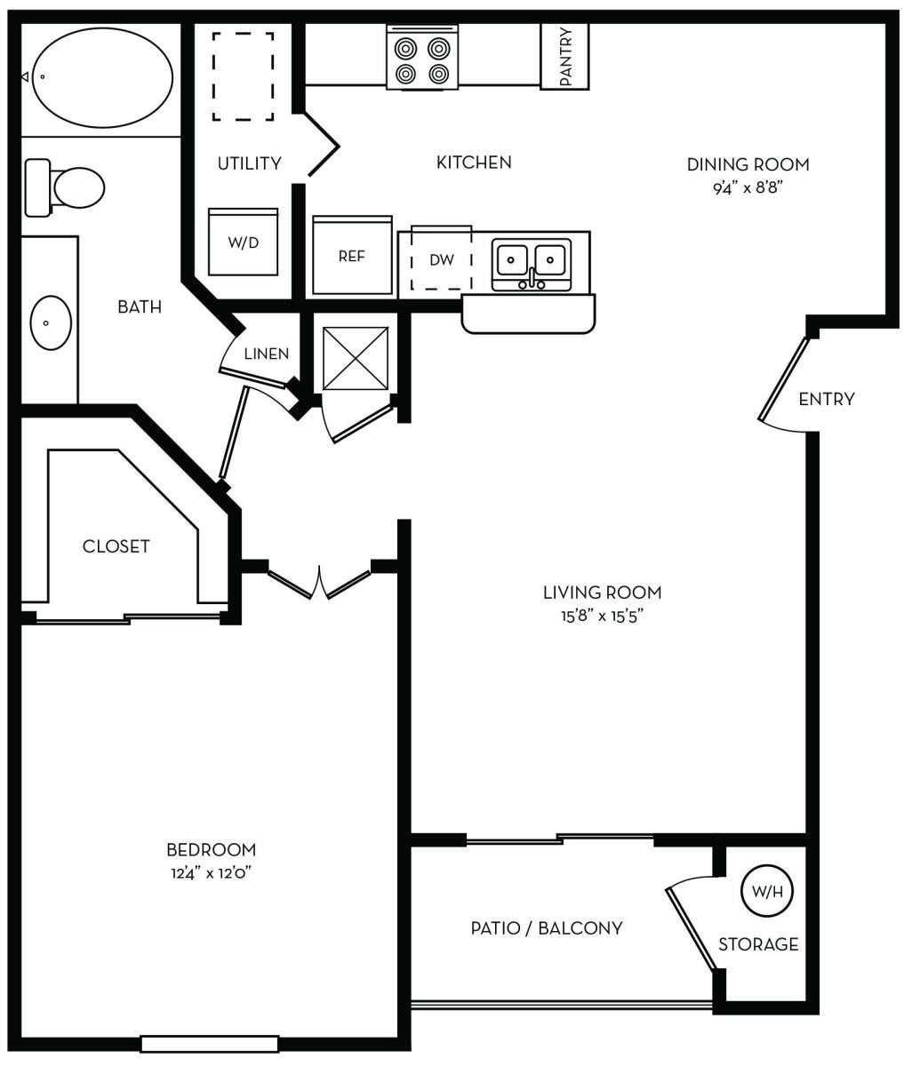 737 sq. ft. A1 floor plan