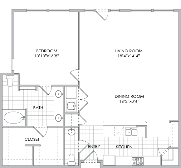 1,250 sq. ft. A8 floor plan