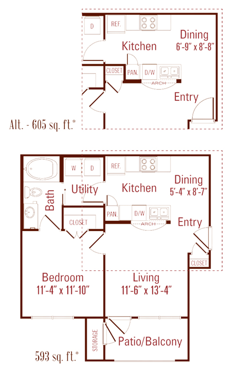 593 sq. ft. to 605 sq. ft. Oak floor plan