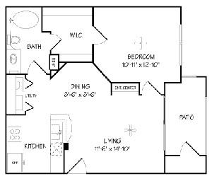 650 sq. ft. A/Arabella floor plan