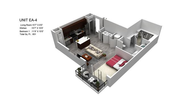651 sq. ft. Bradford/EA-4 floor plan