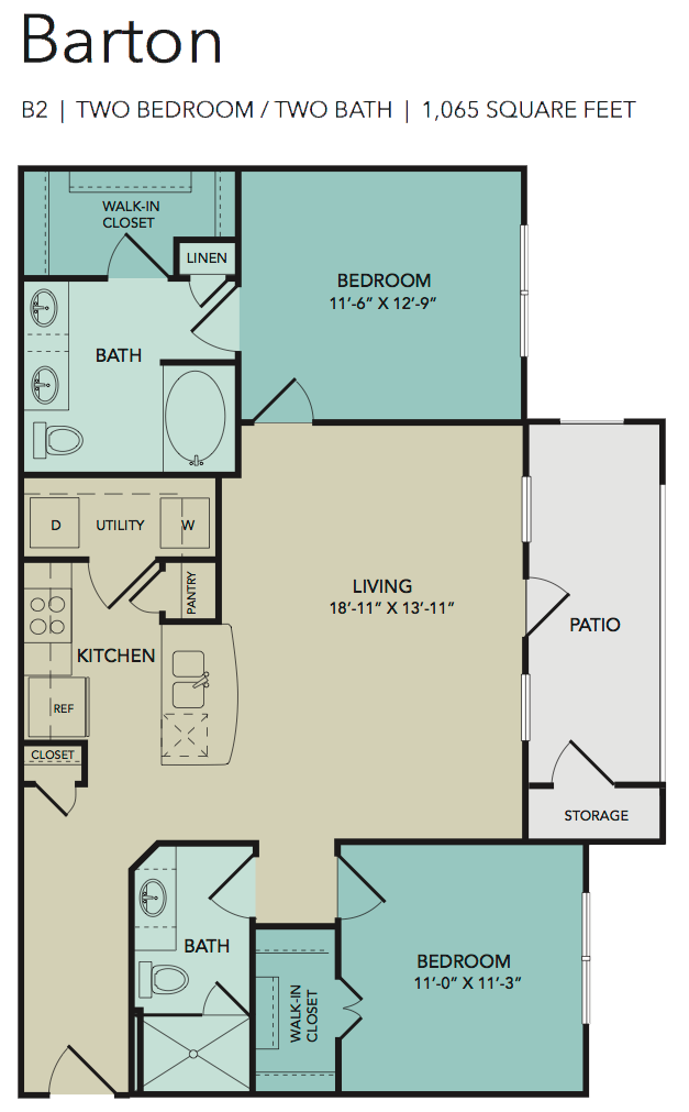 1,065 sq. ft. Barton floor plan