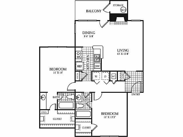 1,039 sq. ft. Chateaux floor plan