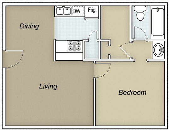 553 sq. ft. A1B floor plan