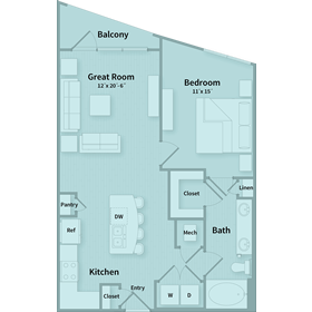 767 sq. ft. A1 floor plan