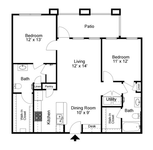 1,015 sq. ft. to 1,115 sq. ft. 50% floor plan