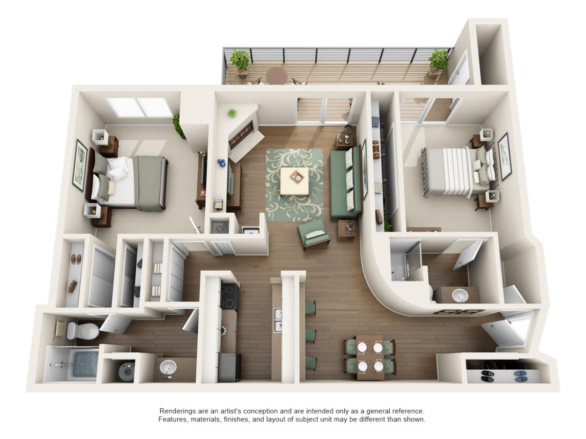 1,060 sq. ft. 2B floor plan