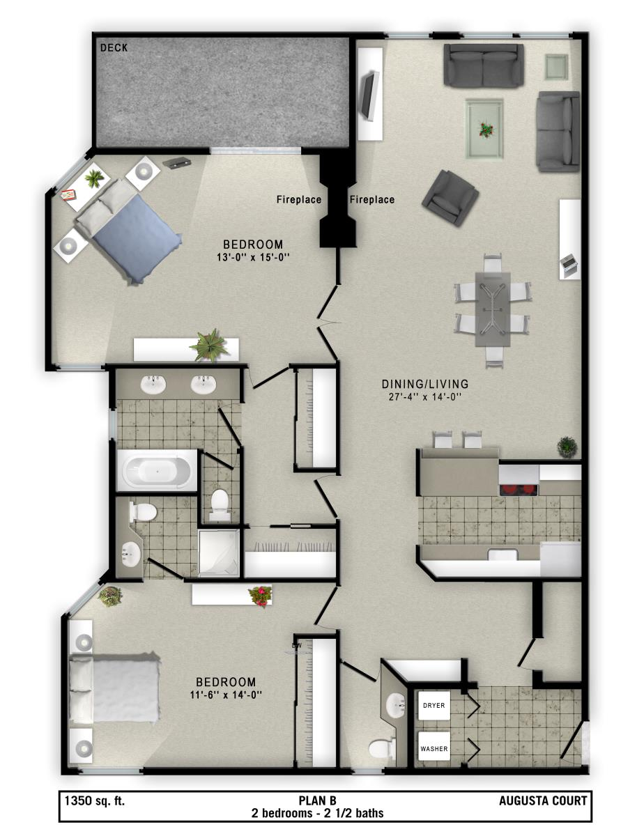 1,350 sq. ft. B floor plan