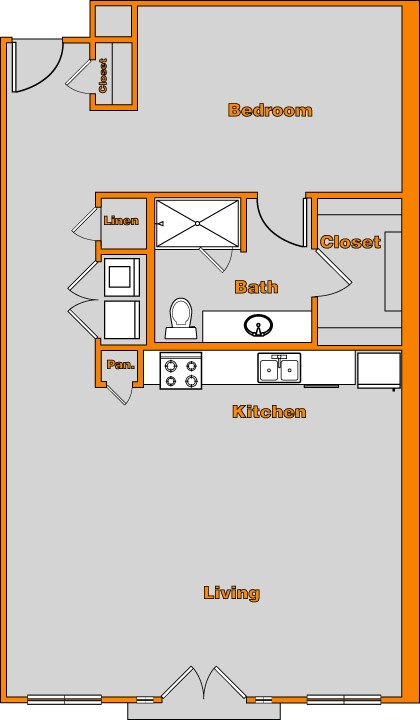 976 sq. ft. LOFT 8 floor plan