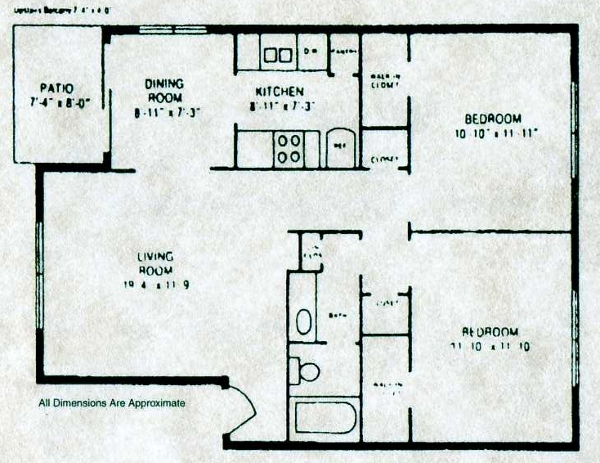 901 sq. ft. B-1 floor plan
