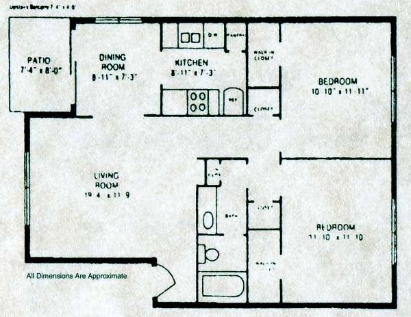 901 sq. ft. A1 W/D floor plan