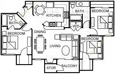 1,225 sq. ft. C1 floor plan