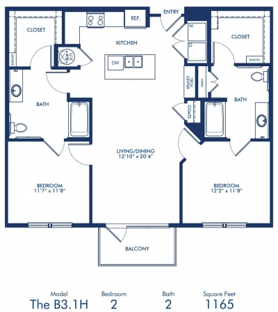 1,165 sq. ft. B3.1A floor plan
