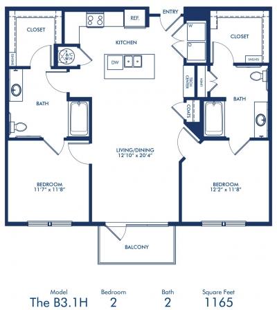 1,165 sq. ft. B3.1A floor plan