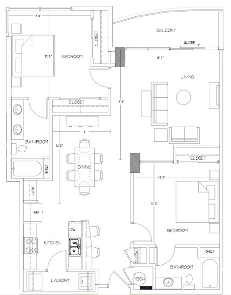 1,311 sq. ft. B7 floor plan