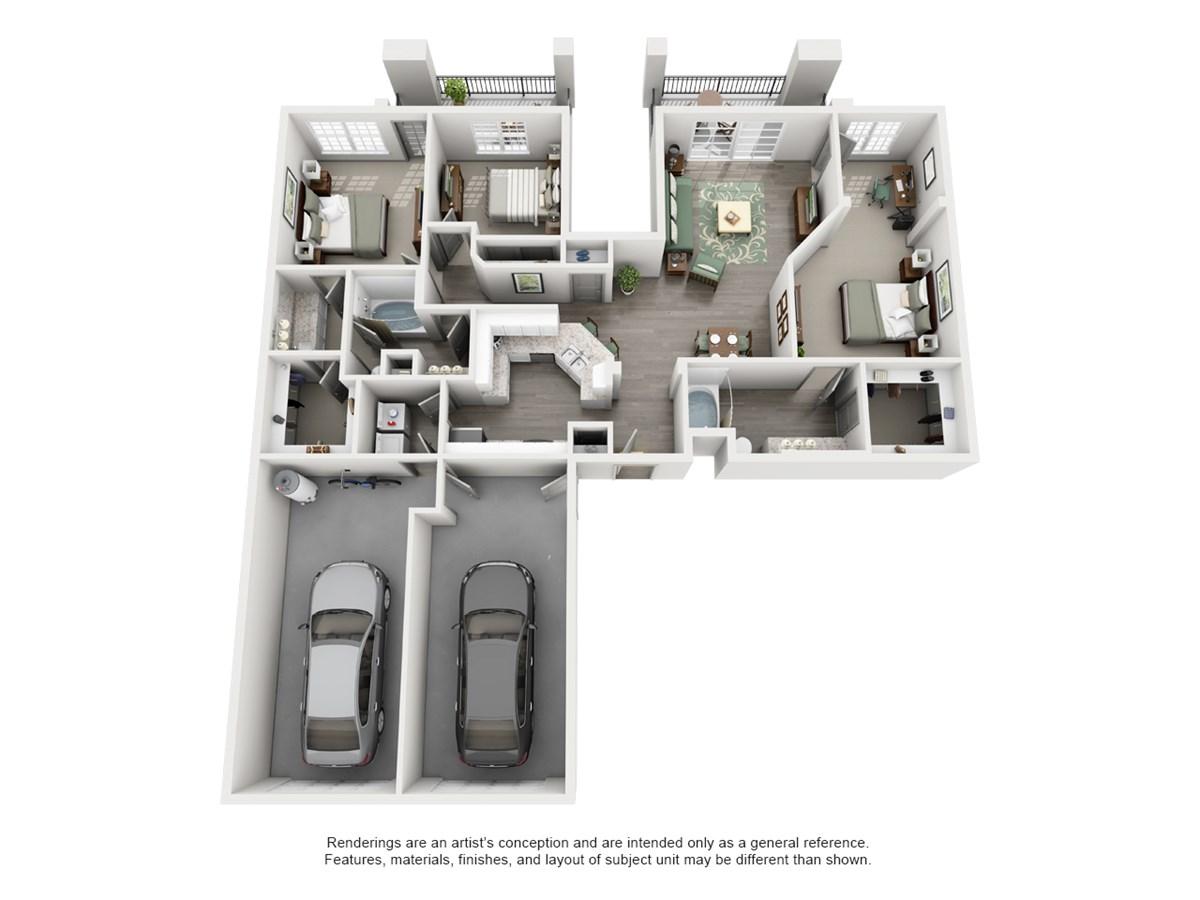1,450 sq. ft. HIGHLAND floor plan