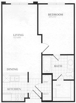 527 sq. ft. to 605 sq. ft. floor plan