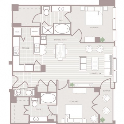 1,245 sq. ft. floor plan