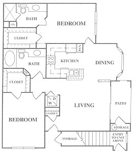 1,079 sq. ft. B1 floor plan