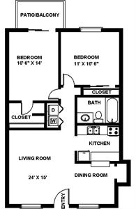 810 sq. ft. B Jester floor plan
