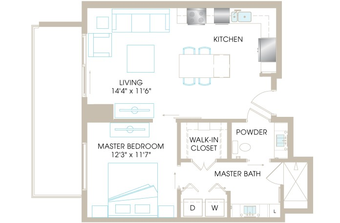 751 sq. ft. A3j floor plan