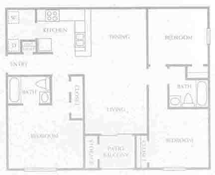 1,056 sq. ft. C1-60% floor plan