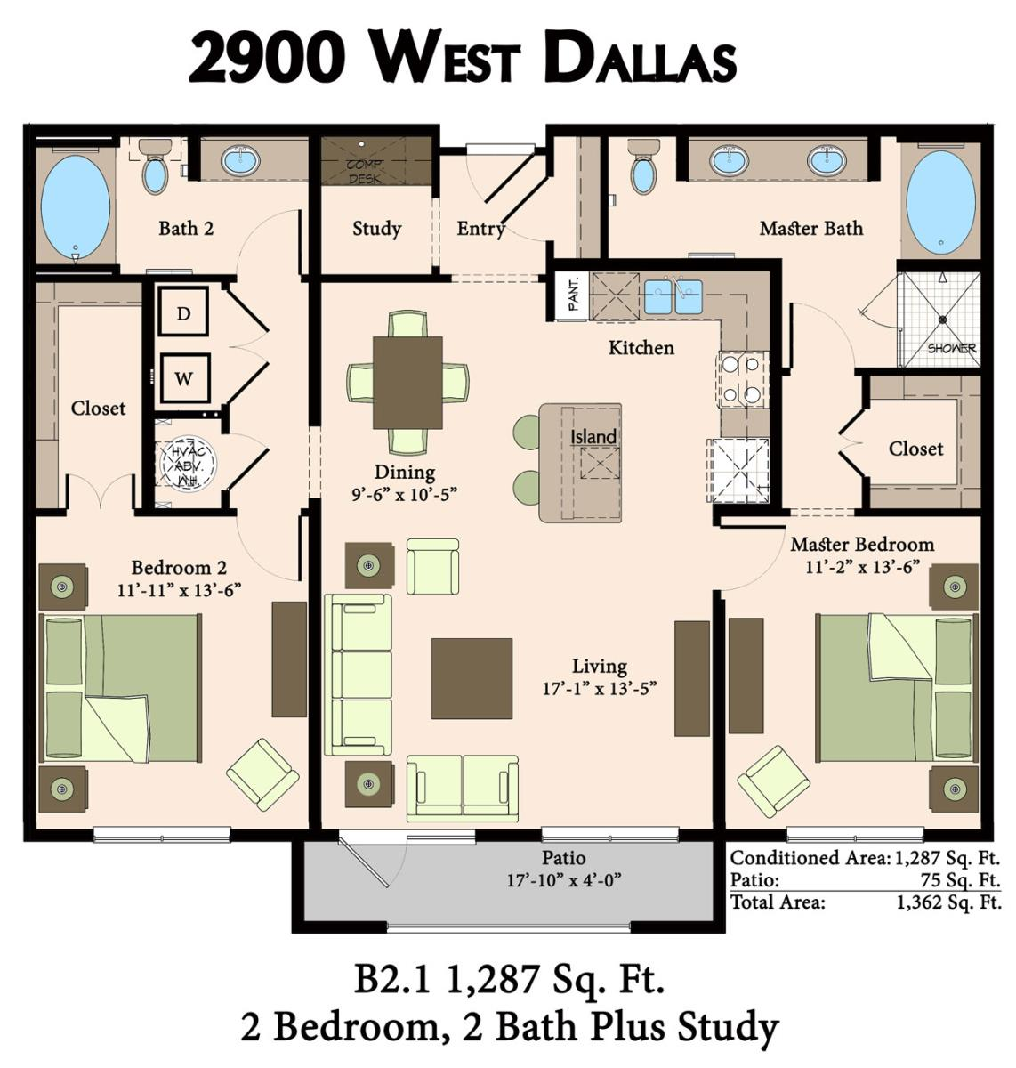 1,287 sq. ft. B2.1 floor plan