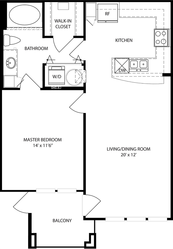 707 sq. ft. Magnolia floor plan