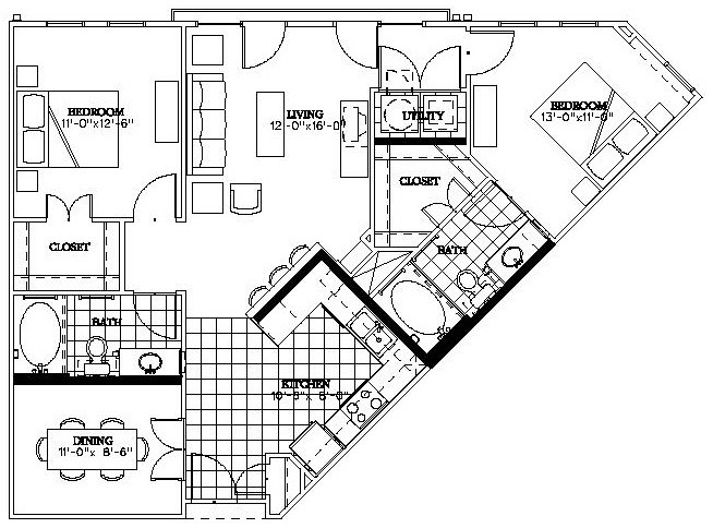 1,075 sq. ft. McKinney floor plan