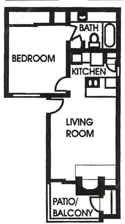 550 sq. ft. A2 floor plan