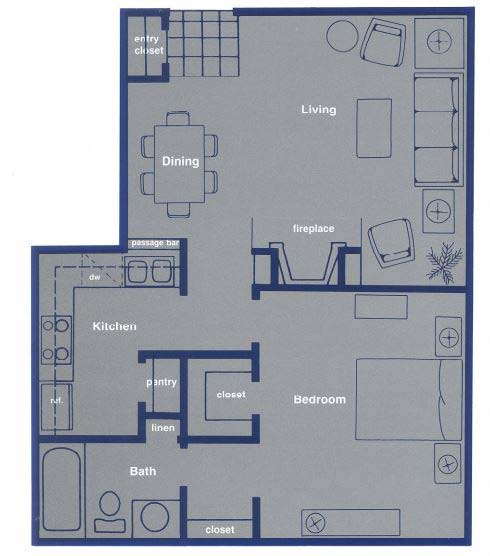 639 sq. ft. A1 floor plan