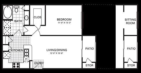 712 sq. ft. A5 PH II floor plan