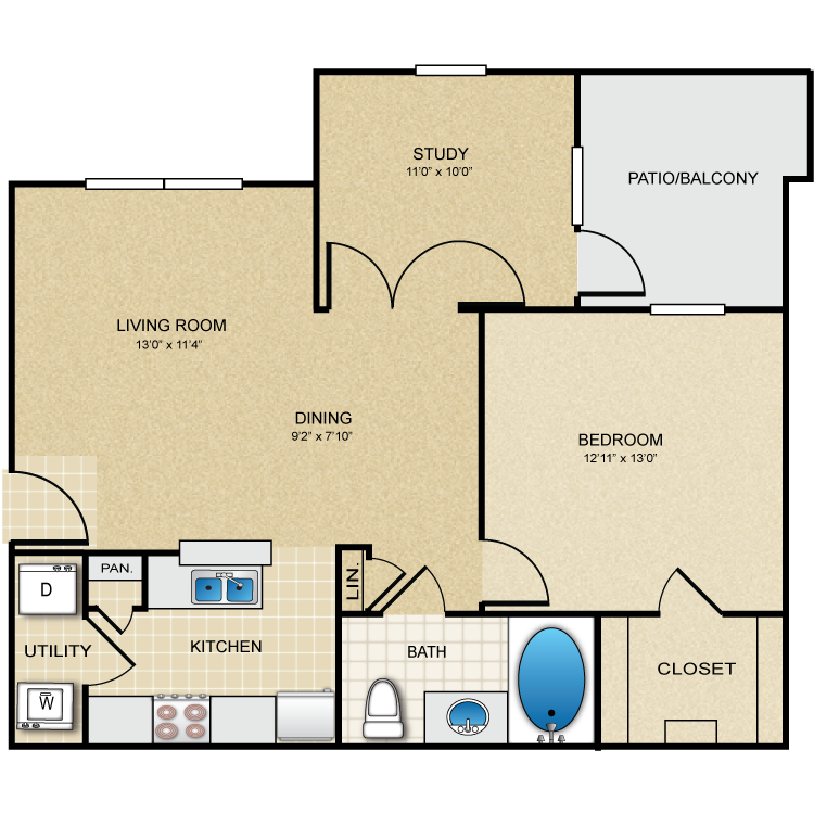 840 sq. ft. Rosewood floor plan