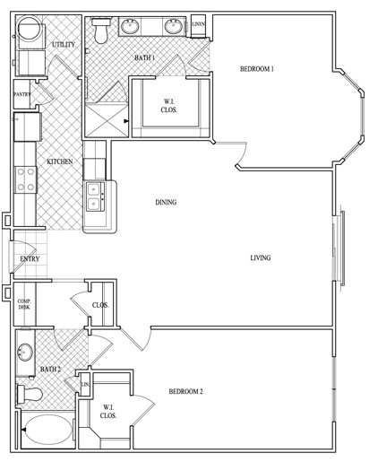 1,217 sq. ft. to 1,236 sq. ft. floor plan