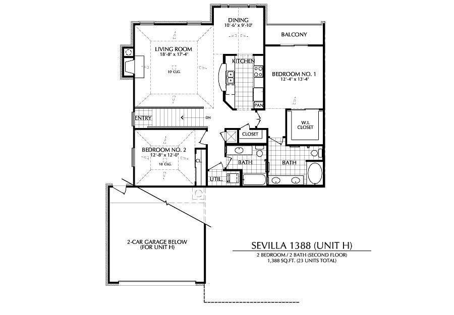 1,388 sq. ft. H floor plan