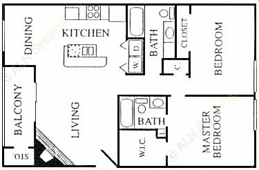 978 sq. ft. Center floor plan