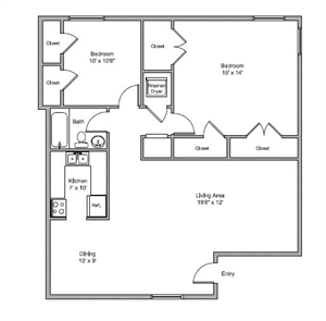 940 sq. ft. Carter floor plan