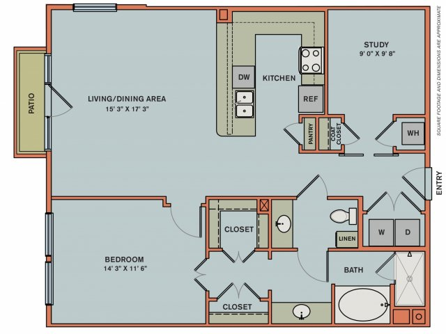 1,055 sq. ft. 2AS2 floor plan