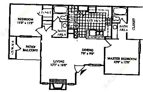 1,020 sq. ft. B-2/60% floor plan