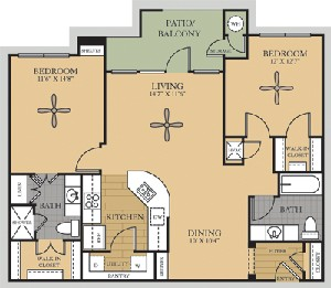 1,133 sq. ft. B2/Red River floor plan