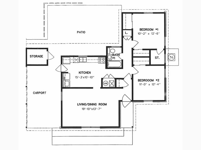 1,075 sq. ft. to 1,085 sq. ft. floor plan
