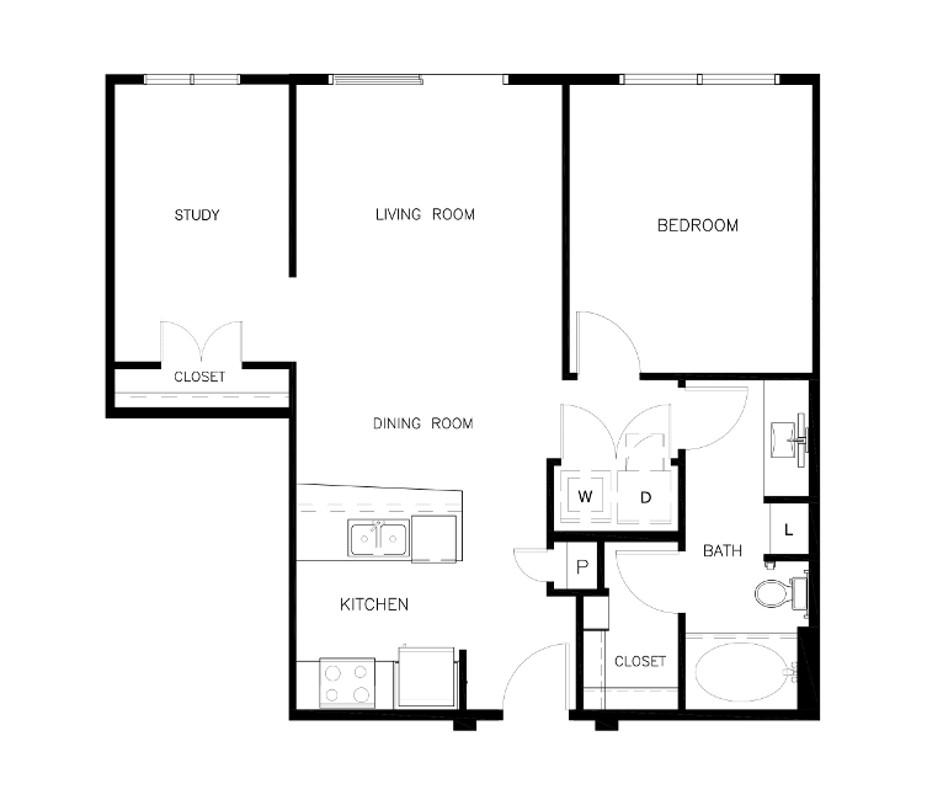 836 sq. ft. A1C Alt floor plan