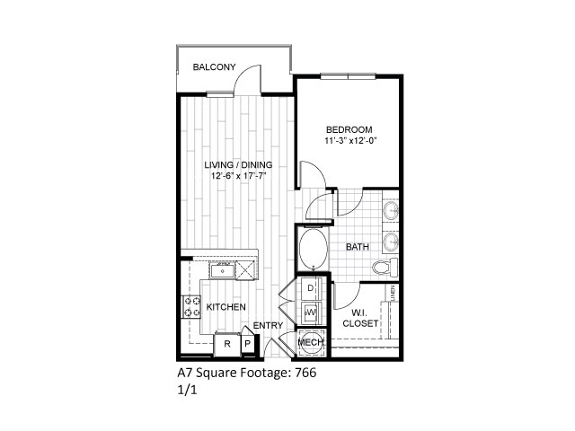 766 sq. ft. A7 floor plan