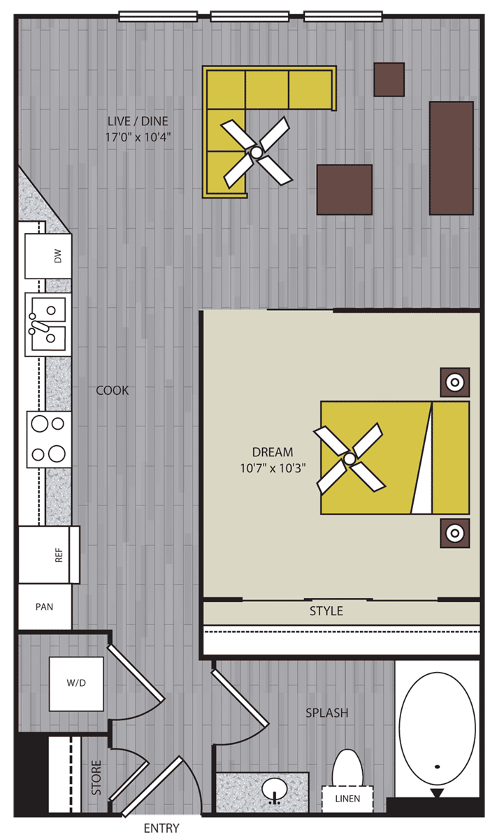 539 sq. ft. to 676 sq. ft. S2 floor plan
