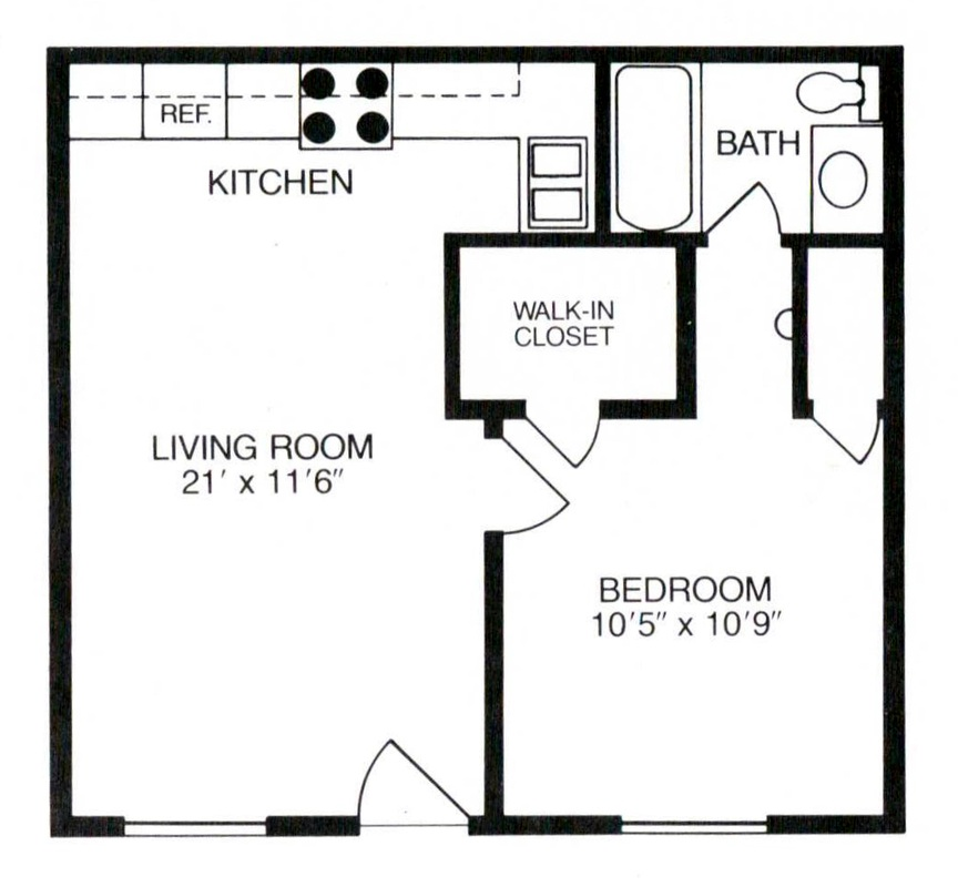 462 sq. ft. to 532 sq. ft. floor plan