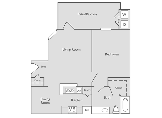 705 sq. ft. A-2 floor plan
