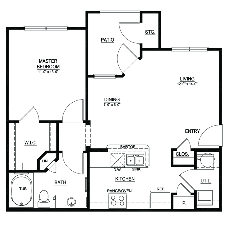 723 sq. ft. A1 floor plan